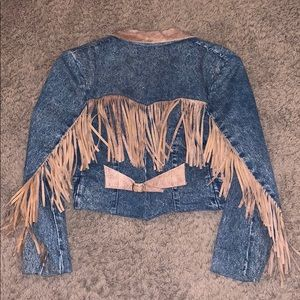 Vintage Diamond Denim & Leather crop tassel blazer
